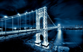 george washington bridge, мост Джорджа Вашингтона, new jersey, manhattan, hudson river, река, Гудзон, new york city, nyc, usa, Нью-Йорк, США обои, фото
