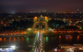 france, Париж, ночь, река, парк, фонтан, деревья, мост, дома, огни, панорама. обои, фото