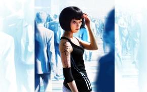 толпа, девушка, татуировка, спортивный, костюм, синий, фон. обои, фото