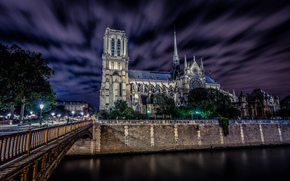 france, paris, notre dame de paris, Франция, Париж, Собор Парижской Богоматери, Нотр-Дам-де-Пари, город, ночь, небо, мост, дорога, люди, фонари, скамейки, река, seine, Сена обои, фото