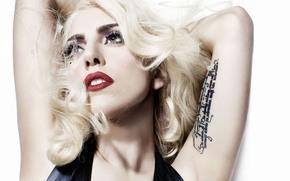 леди гага, певица, блондинка, девушка, знаменитость, тату, татуировка, губы обои, фото
