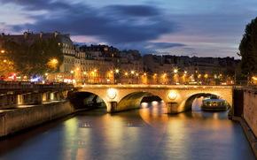 Франция, Мост, Река, Сена, Париж, Ночь, Фонари обои, фото
