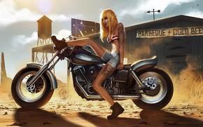 арт, девушка, мотоцикл, тату, татуировки, пыль, песок, ангер, солнце, шорты обои, фото