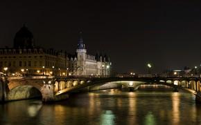 париж, ночь, франция, канал, мост, огни, вода обои, фото