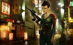 Девушка, оружие, татуировки, улица, огни, надписи обои, фото