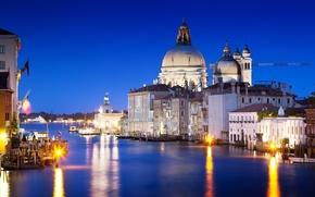 Венеция, Италия, Гранд-канал, вода, море, отражение, свет, вечер, архитектура, дома, здания обои, фото