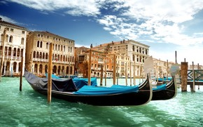 Венеция, Италия, Гранд-канал, гондолы, вода, зеленая, море, архитектура, небо, облака обои, фото