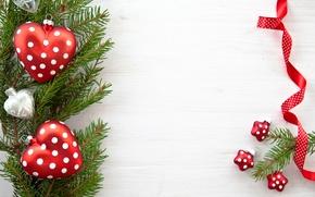 игрушки, новогодние, елочные, сердца, звездочки, ветка, ветвь, ель, елка, лента, Новый Год, Рождество, Новый год обои, фото