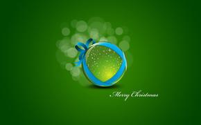 новый год, зеленый, фон, шарик, новогодняя игрушка, минимализм, Новый год обои, фото