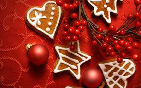 новый год, рождество, игрушки, печенье, ягоды, шары, ветка обои, фото