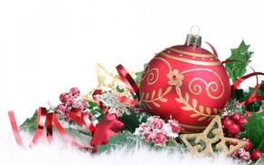 новый год, рождество, игрушки, шар, звёщды, серпантин, снег, мех, ягоды, листья, белый фон обои, фото