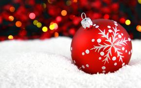игрушка, елочная, новогодняя, шар, красный, узор, снежинка, снег, боке, Новый Год, Рождество, Новый год обои, фото