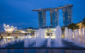 singapore, gardens by the bay, night, architecture, skyscrapers, fountains, lights, blue, sky, Сингапур, ночь, синее, небо, город-государство, мегаполис, небоскребы, фонтаны, архитектура, огни, подсветка обои, фото