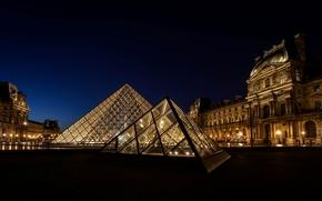 louvre, france, paris, Лувр, музей, Франция, Париж, пирамида, свет, освещение, город, ночь обои, фото