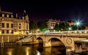 monnaie de paris, Парижский монетный двор, ile-de-france, Иль-де-Франс, france, paris, Франция, Париж, город, ночь, мост, огни, фонари, свет обои, фото