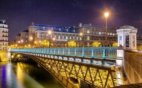 france, paris, Франция, Париж, город, ночь, река, мост, огни, свет, фонари, снег, дома, здания, архитектура обои, фото