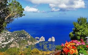 anacapri, provincia di napoli, capri, italy, Анакапри, город, Капри, остров, Неаполь, провинция, Италия, Тирренское, море, скалы, природа, тдеревья, зелень, цвеы, пейзаж, горы, небо обои, фото