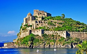 castello aragonese, Арагонский замок, ischia, Искья, остров, italy, Италия, море, вода, зелень, пейзаж обои, фото