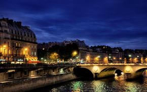 Париж, ночь, огни, мост, река, отражение обои, фото