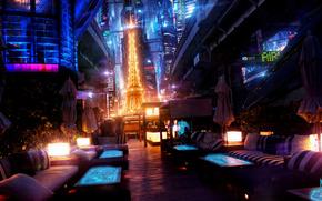 ночь, париж, эйфелева башня, будущее, огни, акимов михаил амм обои, фото