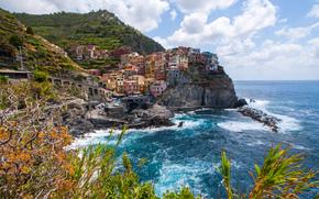 manarola, cinque terre, italy, Манарола, Чинкве-Терре, Италия, Лигурийское море, скалы, пейзаж обои, фото