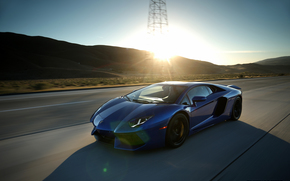 ������: lamborghini, aventador, blue, highway, sport car