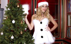 девушка, блондинка, снегурочка, костюм, шапка, новый год, елка, игрушки обои, фото