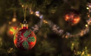 ель, ёлка, новый год, шар, игрушка, фокус, мишура, красный, узор, Новый год обои, фото