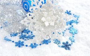 снежинка, белая, шары, серебристая, игрушки, елочные, синие, блеск, Новый Год, Новый год, декорации, Рождество, узоры, украшения обои, фото