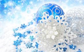игрушки, серебристые, Новый год, снежинки, Рождество, узоры, шары, новогодние, блеск, елочные, синие, декорации, Новый Год обои, фото