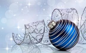 Новый год, узоры, игрушка, Рождество, серебристые, елочные, украшения, новогодняя, синий, шар, лента, Новый Год, праздники обои, фото