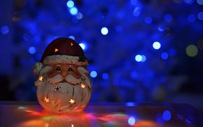 боке, Новый год, Новый Год, свеча, игрушка, Дед Мороз, Рождество, праздники обои, фото