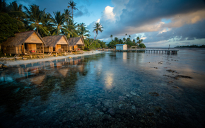 Bungalows on the Reef, French Polynesia, пейзаж