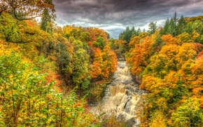 autumn, forest, river, waterfall, landscape