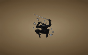 black suit, asterisk, minimalism, jump, blade, sword, weapon, ninja