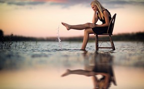 reflection, chair, splash, water, joy, girl
