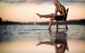 отражение, стул, всплеск, вода, радость, девушка