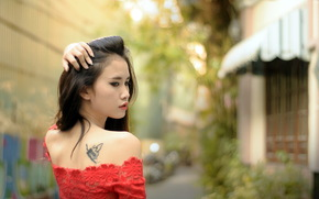 girl, Asian, tattoo