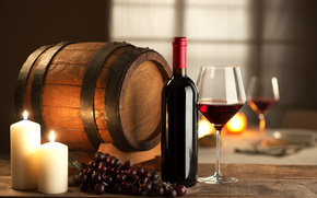 bottle, grapes, wine, barrel, red, wineglass, Candles