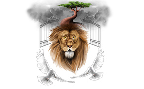 lion, birds, Pigeons, CLOUDS, gates, tree, clouds, minimalism