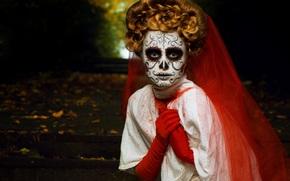 peinado, máscara, fiesta, chica, Halloween