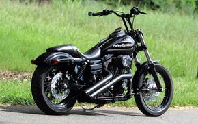 motocicletas, negro, bicicleta, Harley-Davidson, CHOPPER