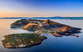 Sicilia, Italia, nave, mare, de apă, Vulcanii, Insulele Eoliene, cer, Marea Tireniană