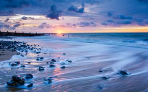 Regatul Unit, soare, NORI, mare, cer, Norfolk, nori, Anglia, HORIZON, apus de soare, seară, țărm, surf, pietre
