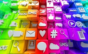 rețele sociale, Internet, cuburi, Icoane
