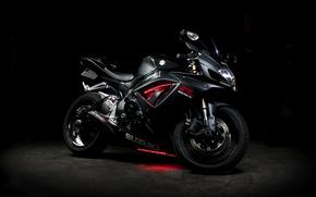неон, сузуки, мотоцикл, чёрный, Мотоциклы