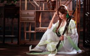 девушка, азиатка, меч