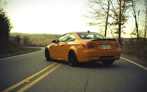 разметка, дорога, BMW, БМВ, задок, оранжевый