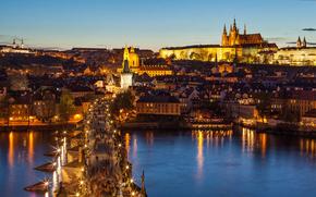 здания, вид, огни, Чехия, город, освещение, река, Прага, люди, Градчаны, Карлов мост, панорама, фонари, мост, архитектура, дома, Влтава