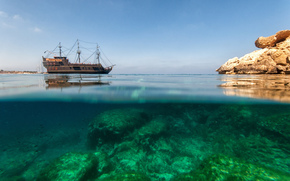 корабль, Европа, скала, море, Хорваия, природа